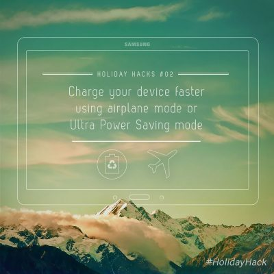 """Speed-charge your GS5 in the lounge; watch a movie on the plane."""